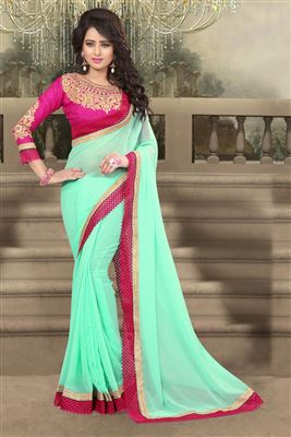 image of Beautiful Blue Color Designer Chiffon Saree