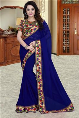 image of Casual Wear Fancy Print Georgette Saree in Cream-Pink Color