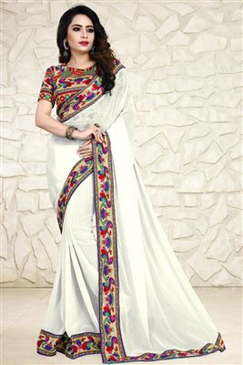 image of Grey-Coffee Silk-Chiffon Casual Wear Fancy Saree