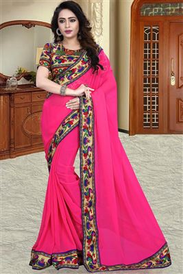 image of Pink-Cream Chiffon-Net Saree with Embroidery-1106