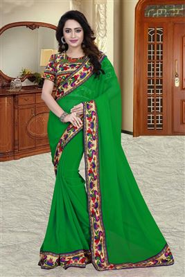 image of Green Color Wedding Wear Fancy Silk Fabric Designer Embroidered Saree