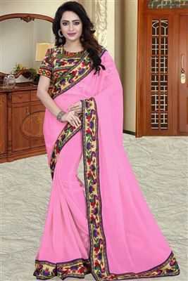 image of Orange-Wine Chiffon Embroidered Designer Saree-902