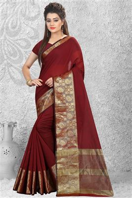 image of Brown Color Fabulous Georgette-Jacquard Saree