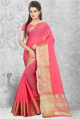 image of Orange-Beige Party Wear Chiffon-Georgette Sari-240