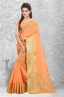 image of Off White Silk-Chiffon Fancy Print Casual Saree
