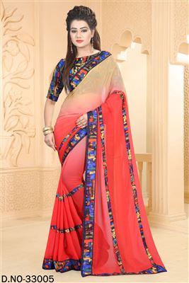 image of Appealing Orange Color Georgette Designer Saree