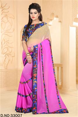 image of Pink Color Printed Party Wear Cotton And Silk Fabric Saree
