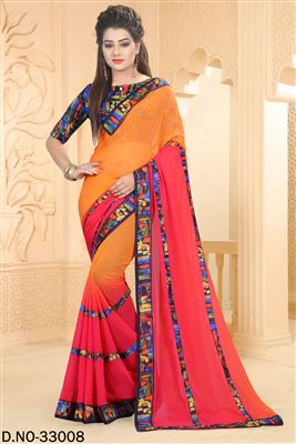 image of Pink-Off White Color Georgette Designer Party Wear Saree