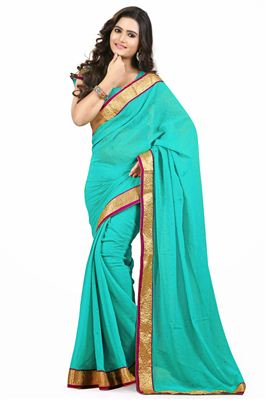 image of Beige Color Printed Party Wear Saree in Silk Fabric