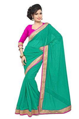 image of Pink Color Party Wear Saree In Georgette Fabric With Border