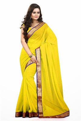 image of Compelling Georgette Fabric Party Wear Saree In Orange Color