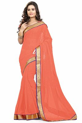 image of Festive Wear Satin And Chiffon Embroidered Saree In Red Color