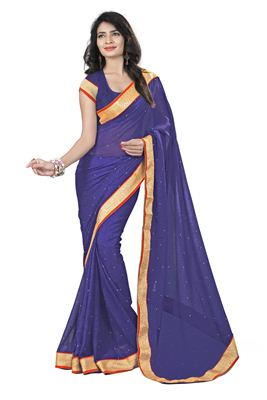 image of Enigmatic Blue Color Georgette Fabric Embroidered Saree
