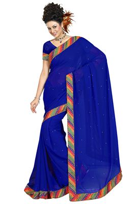 image of Classic Blue Color Lycra-Georgette Designer Saree
