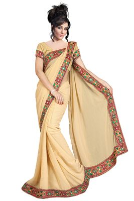 image of Festive Wear Designer Satin Chiffon-Net Saree in Pink-Beige Color