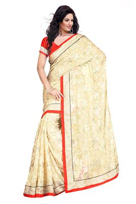 image of Fascinating Cream Color Embroidered Lehenga Saree