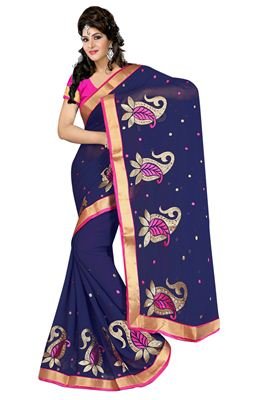 image of Exquisite Black Color Party Wear Embroidered Georgette Saree