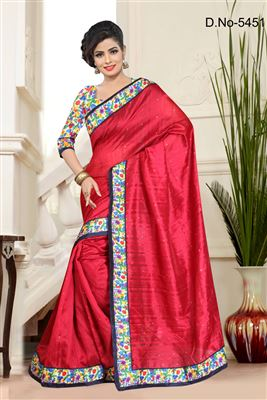 image of Riveting Red Chiffon-Georgette Attractive Saree