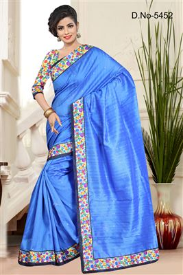 image of Lovely Blue Color Party Wear Bhagalpuri Saree