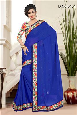 image of Alluring Blue Color Chiffon-Georgette Printed Sare