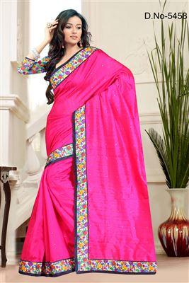 image of Lovely Pink Color Party Wear Bhagalpuri Saree