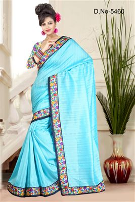 image of Gorgeous Sky Blue Color Party Wear Saree