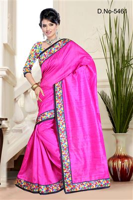 image of Beige And Pink Color Enthralling Georgette And Net Designer Wedding Saree