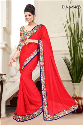 image of Orange-Brown Color Embroidered Designer Georgette Saree for Wedding