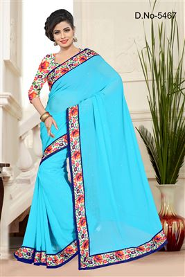 image of Green Color Office Wear Fancy Print Chiffon Saree