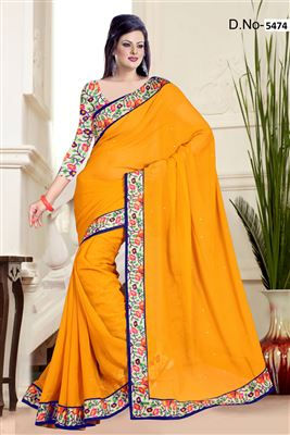 image of White Color Designer Georgette Saree with Bangalori Silk Blouse