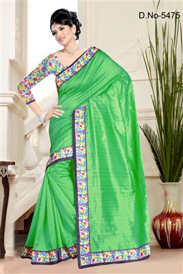 image of Gorgeous Green Color Party Wear Saree