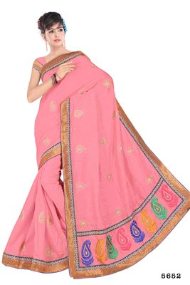 image of Charming Party Wear Pink Bhagalpuri Saree-5652