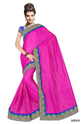 image of Pink Designer Party Wear Georgette Saree