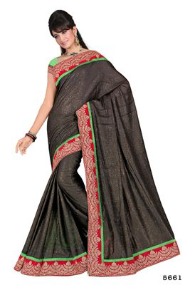 image of Navy Blue Color Designer Georgette Fabric Saree with Embroidery