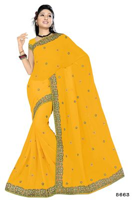 image of Yellow Color Soothing Georgette Saree