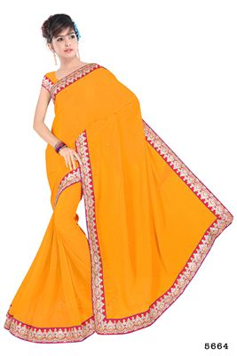 image of Designer Wear Chiffon-Net Saree with Embroidery in Peach Color