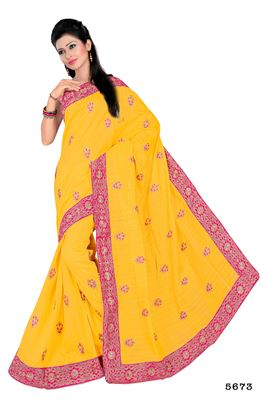 image of Charming Party Wear Yellow Bhagalpuri Saree-5673