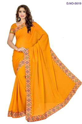 image of Designer Party Wear Orange Color Embroidered Georgette Saree