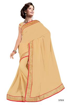 image of Brown Georgette Designer Saree with Embroidery
