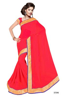 image of Orange-White Color Party Wear Fancy Fabric Saree with Lace Work