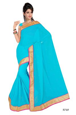 image of Blue Georgette Saree with Embroidery-174