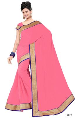 image of Pink Formal Wear Casual Print Silk-Chiffon Saree