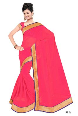 image of Pink Color Embroidered Designer Georgette Saree