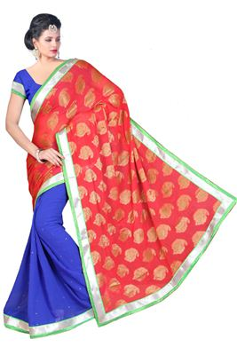 image of Beauteous Navy Blue Color Designer Chiffon Saree