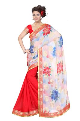 image of White-Yellow Casual Printed Fancy Georgette Saree