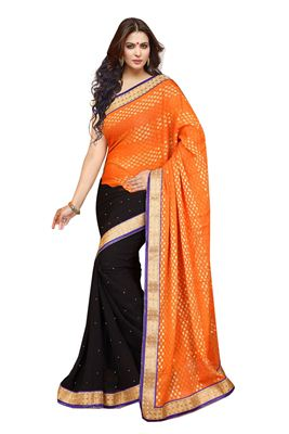 image of Designer Party Wear Navy Blue Color Georgette Saree with Blouse