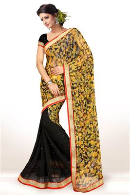 image of Designer Net-Jacquard Fabric Saree in Red Color with Embroidery
