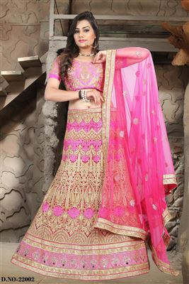 image of Elating Pink Color Net-Shimmer Party Wear Bridal Chaniya Choli