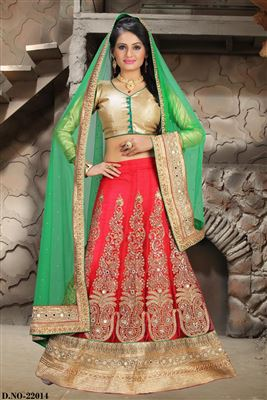 image of Charismatic Turquoise Color Net-Shimmer Designer Bridal Lehenga