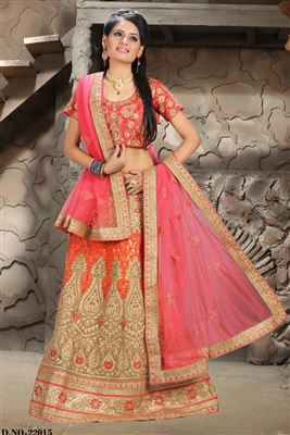 image of Festive Wear Designer Bangalori Silk Lehenga Choli in Cream-Blue Color